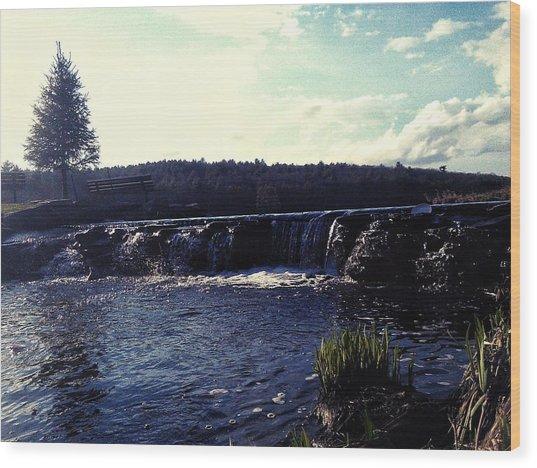 Gentle Waterfall Wood Print by Lucky Bro's