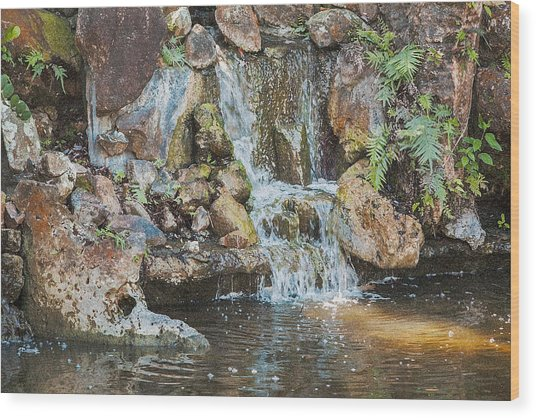 Wood Print featuring the photograph Gentle Waterfall With Sunbeam by David Coblitz