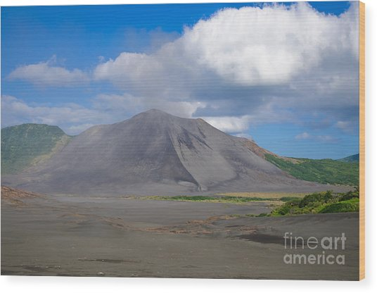 Gently Smoking Volcano Wood Print