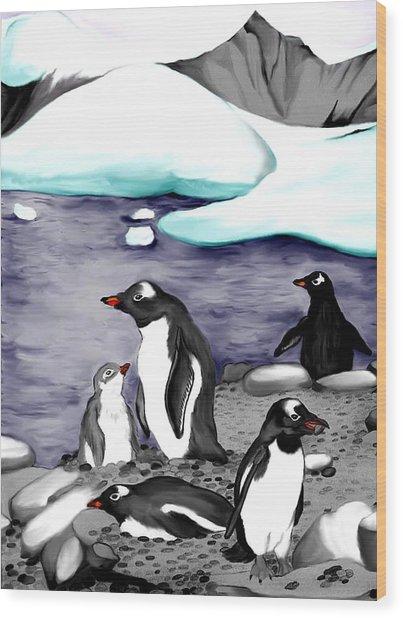 Gentoo Penguins Wood Print