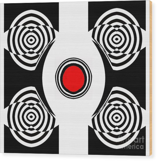 Geometric Abstract Black White Red Art No.400 Wood Print by Drinka Mercep