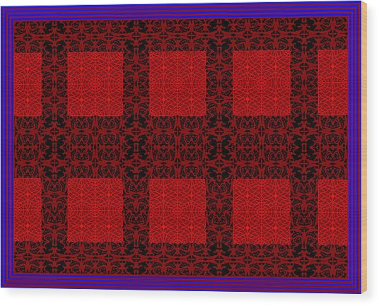Geometric Abstract Stereo In Red Wood Print