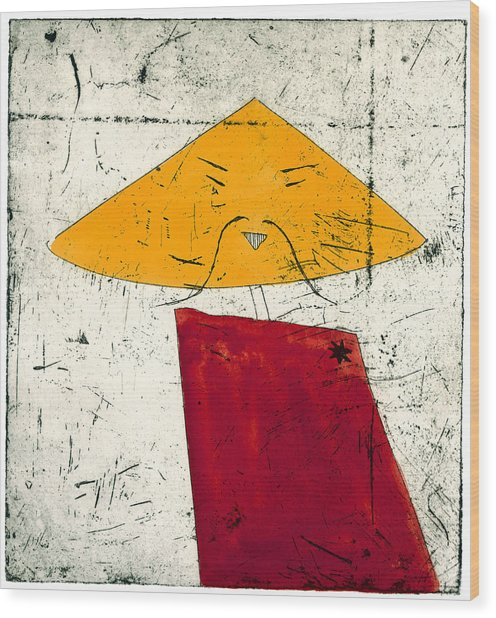 Geometric Figure With Face Wood Print by Tim Southall