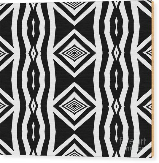 Geometric Pattern Abstract Black White Art No.339. Wood Print by Drinka Mercep