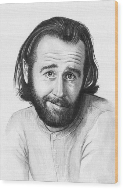 George Carlin Portrait Wood Print