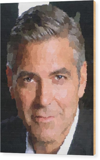 George Clooney Portrait Wood Print