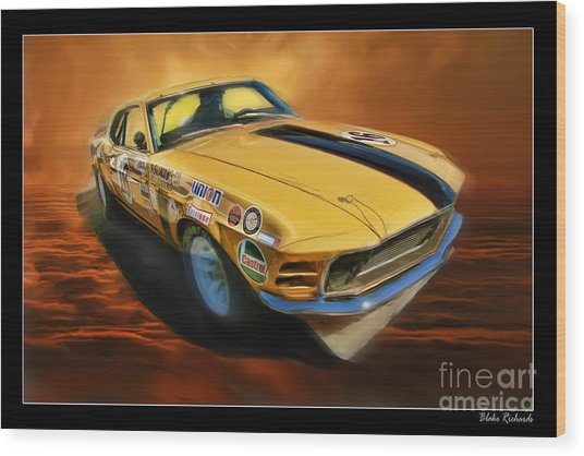 George Follmer 1970 Boss 302 Ford Mustang Wood Print