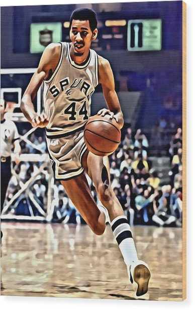 George Gervin Wood Print