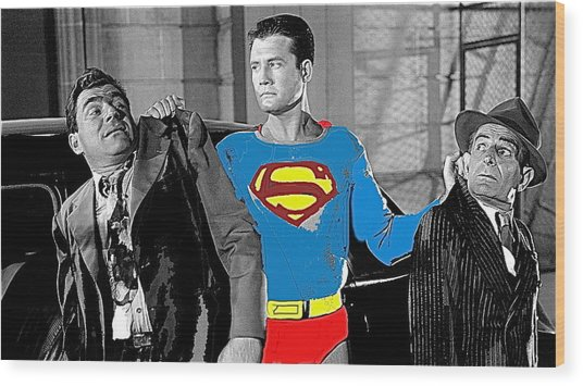 George Reeves As Superman In His 1950's Tv Show Apprehending Two Bad Guys 1953-2010 Wood Print