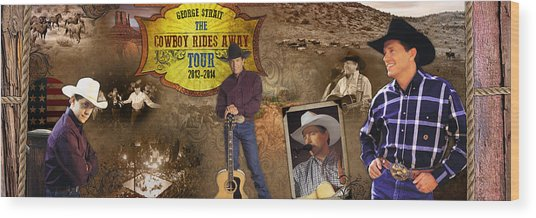 George Strait Cowboy Rides Away Wood Print by Retro Images