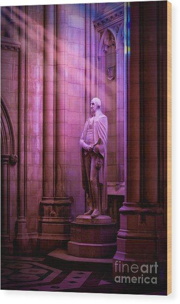 George Washington At The National Cathedral Wood Print