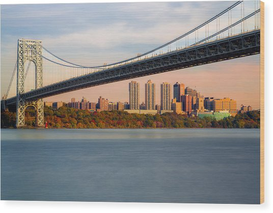 George Washington Bridge In Autumn Wood Print