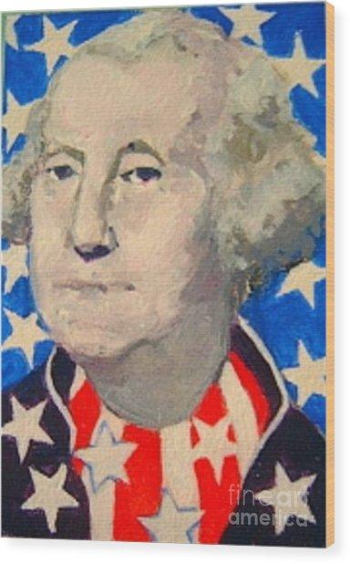 George Washington In Stars And Stripes Wood Print