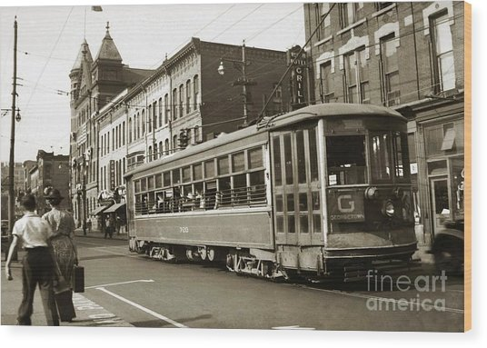 Georgetown Trolley E Market St Wilkes Barre Pa By City Hall Mid 1900s Wood Print
