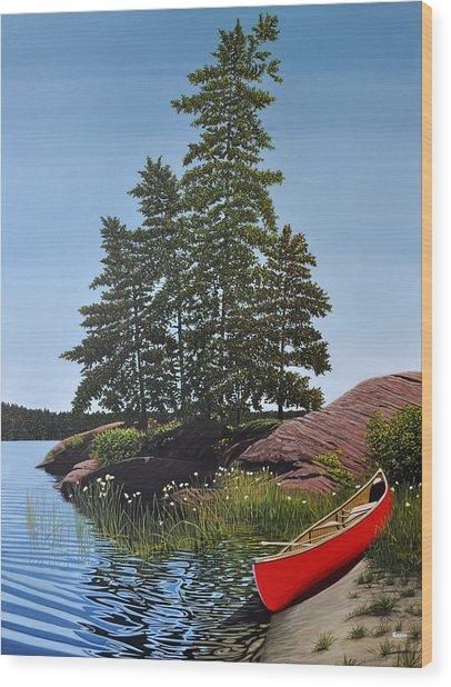 Georgian Bay Beached Canoe Wood Print