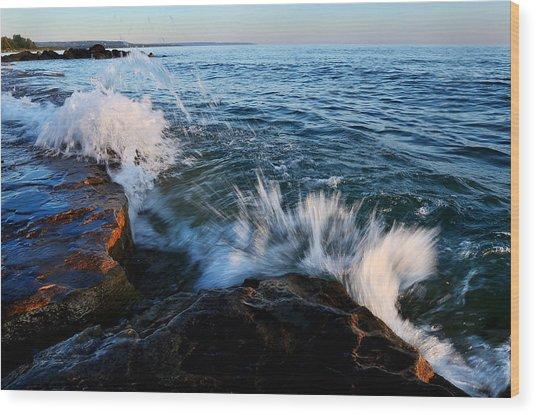 Georgian Bay Shore Surf Wood Print