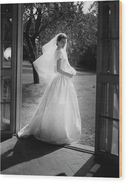 Geraldine Kohlenberg Wearing A Wedding Dress Wood Print