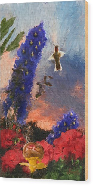 Geraniums Red And Delphiniums Blue Wood Print