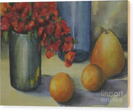 Geraniums With Pear And Oranges Wood Print