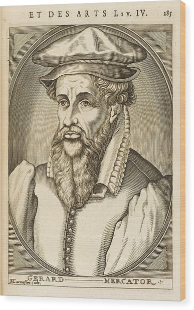 Gerardus Mercator Known Also As Gerhard Wood Print by Mary Evans Picture Library