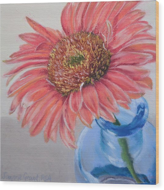 Gerbera Daisy With Blue Glass Wood Print