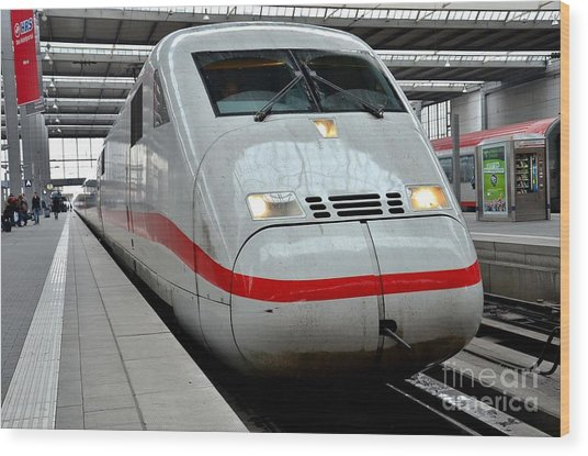 German Ice Intercity Bullet Train Munich Germany Wood Print