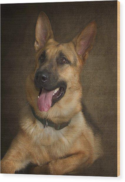 German Shepherd Portrait Wood Print