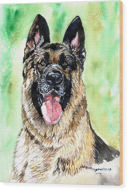 German Shepherd Wood Print by Tracy Rose Moyers