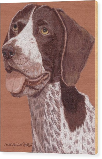 German Shorthair Pointer Vignette Wood Print