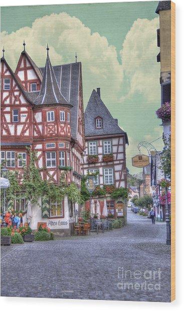 German Village Along Rhine River Wood Print