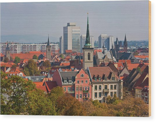 Germany, Thuringia, Erfurt, View Of City Wood Print by Westend61