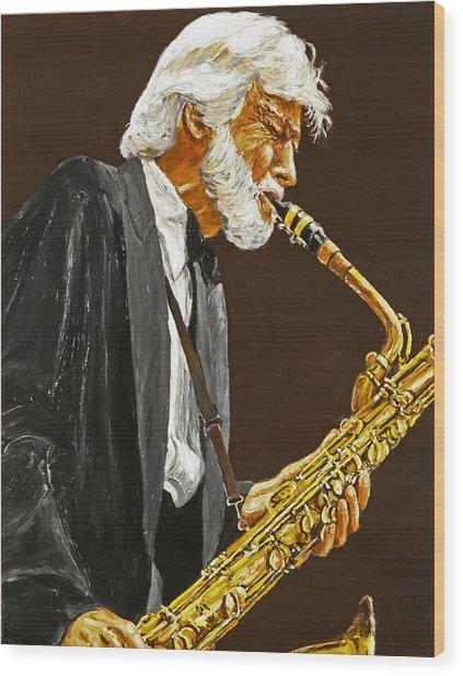 Gerry Mulligan Wood Print by Rudy Browne