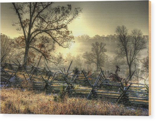 Gettysburg At Rest - Sunrise Over Northern Portion Of Little Round Top Wood Print
