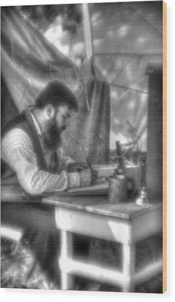 Gettysburg In The Camp - The Chaplain's Letter Home Wood Print