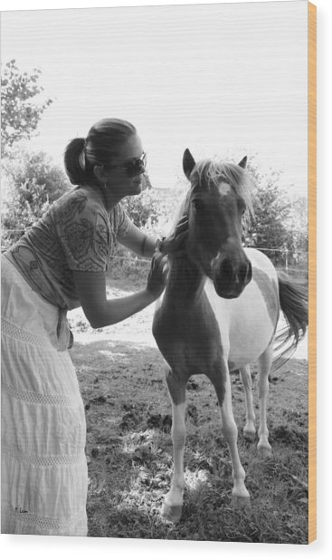 Gg And Her Horse Wood Print by Thomas Leon