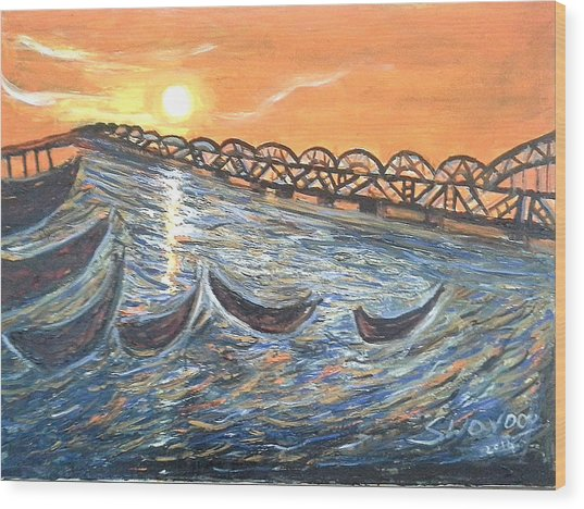Godavari River And Bridge Wood Print