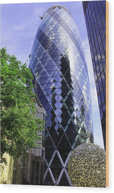 Gherkin 30 St Mary Axe Wood Print