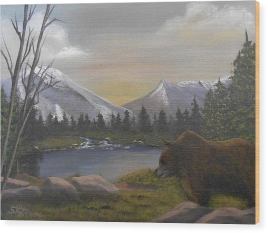 Ghost Bear-the Cascade Grizzly Wood Print