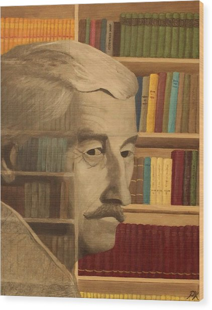 Ghost In The Library  William Faulkner Wood Print by Patrick Kelly