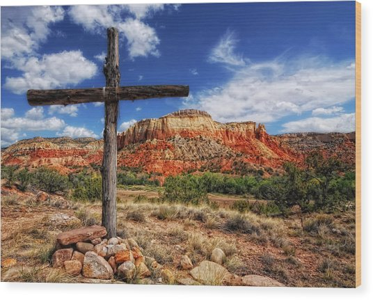 Ghost Ranch Cross Wood Print