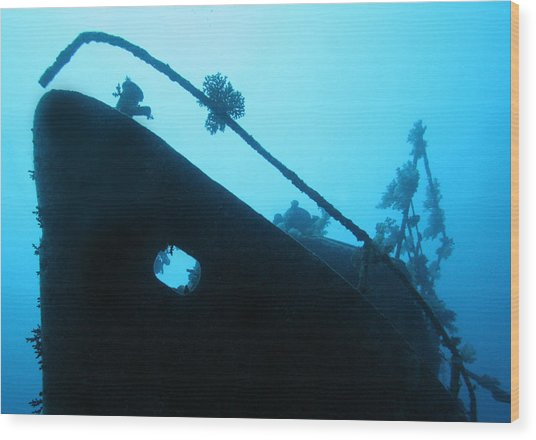 Ghost Ship Wood Print by Paula Marie deBaleau