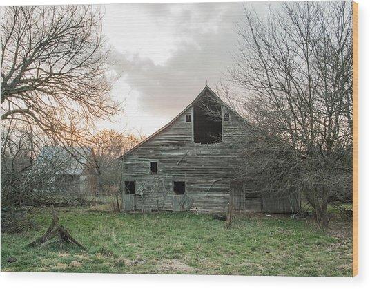 Ghostly Barn Wood Print