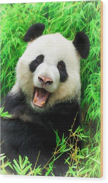 Giant Panda Laughing Wood Print