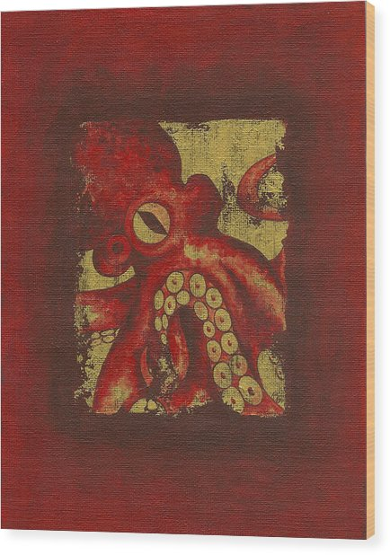Giant Red Octopus Wood Print