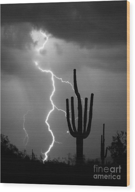 Giant Saguaro Cactus Lightning Strike Bw Wood Print