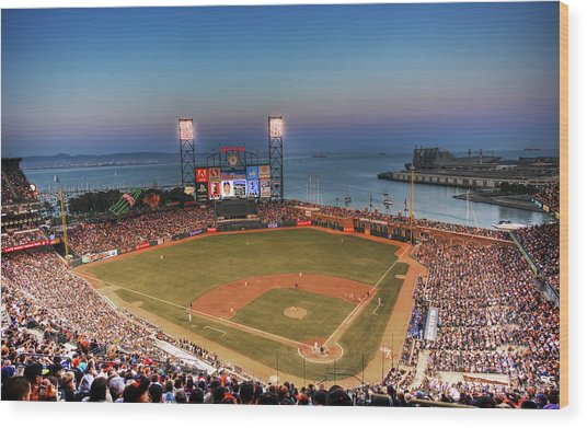 Giants Ballpark At Night Wood Print by Shawn Everhart