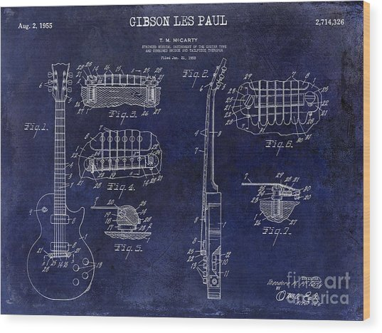 Gibson Les Paul Patent Drawing Blue Wood Print