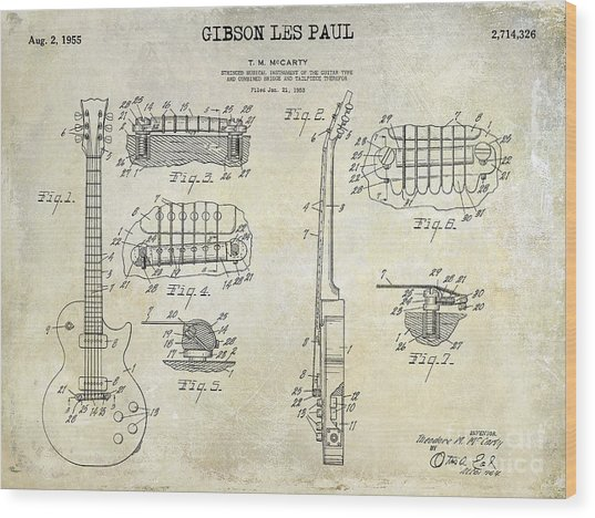 Gibson Les Paul Patent Drawing Wood Print