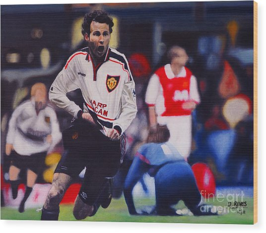 Giggs Goal V Arsenal Oil On Canvas Wood Print