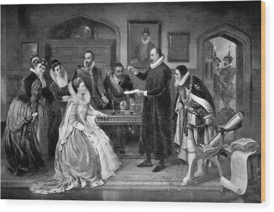 Gilbert Shows Electricity To Elizabeth I Wood Print by Science Photo Library